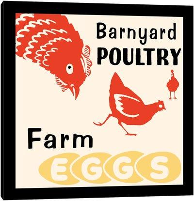 """""""Barnyard Poultry"""" Vintage Farm Eggs Advertisement Canvas Art Print"""