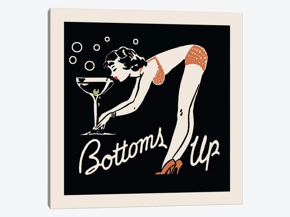 Bottoms Up - Vintage Ad Poster by Retro Series 1-piece Canvas Artwork