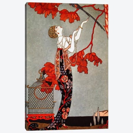 1914 Oriental Red Canvas Print #5377} by George Barbier Canvas Artwork