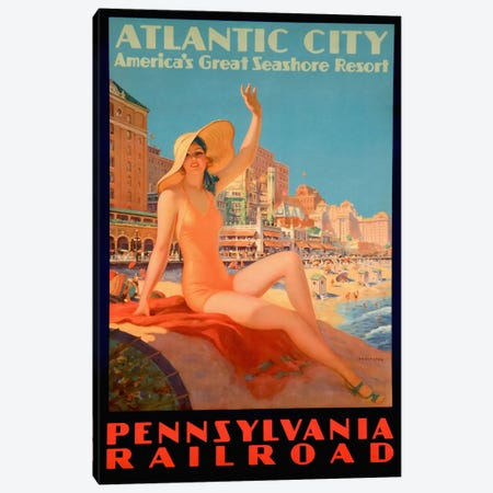 Atlantic City Bathing Pa Line Canvas Print #5378} by Vintage Apple Collection Canvas Print