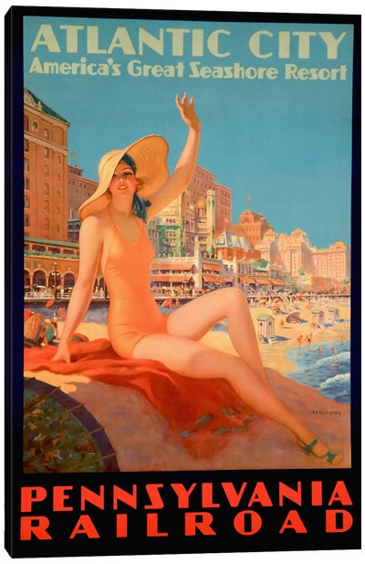 Atlantic City Bathing Pa Line Canvas Art Print