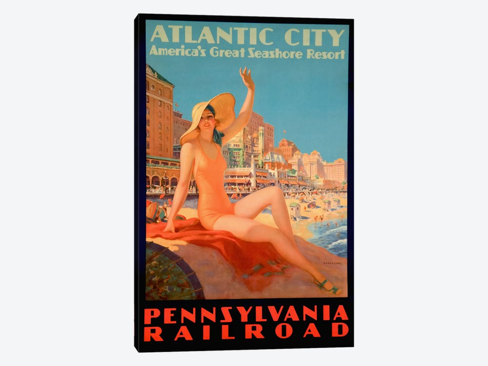 Atlantic City Bathing Pa Line by Vintage Apple Collection 1-piece Art Print
