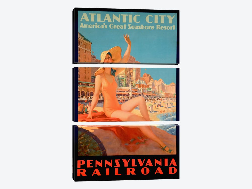 Atlantic City Bathing Pa Line by Vintage Apple Collection 3-piece Canvas Print