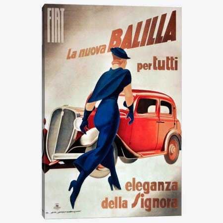Fiat Balilla Vintage Automobile Advertisement 3-Piece Canvas #5381} by Vintage Apple Collection Canvas Artwork