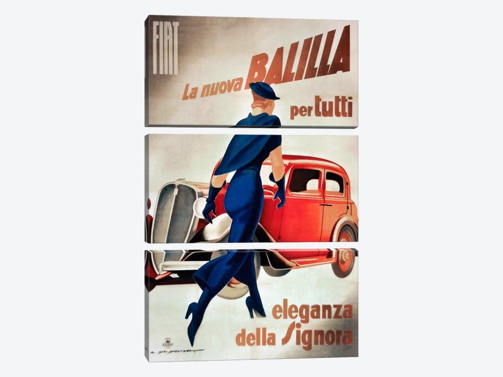 Fiat Balilla Vintage Automobile Advertisement by Vintage Apple Collection 3-piece Canvas Art Print