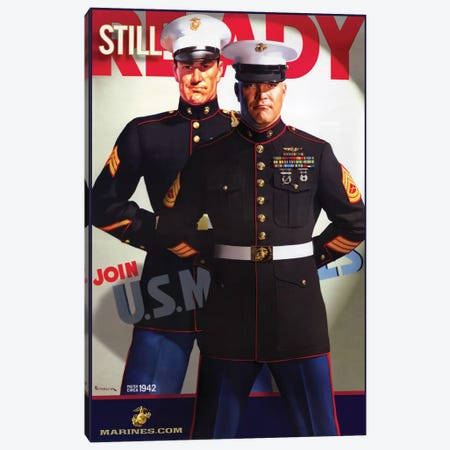 """""""Still Ready"""" Vintage U.S. Marines Recruitment Poster Canvas Print #5384} by Vintage Apple Collection Canvas Print"""