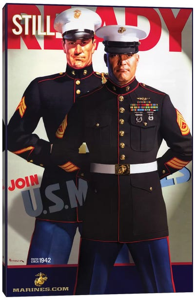 """Still Ready"" Vintage U.S. Marines Recruitment Poster Canvas Art Print"