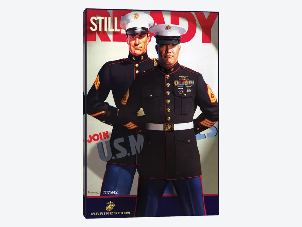 """""""Still Ready"""" Vintage U.S. Marines Recruitment Poster by Vintage Apple Collection 1-piece Canvas Artwork"""