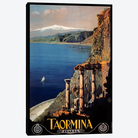 Taormina Canvas Print #5385} by Vintage Apple Collection Canvas Art Print