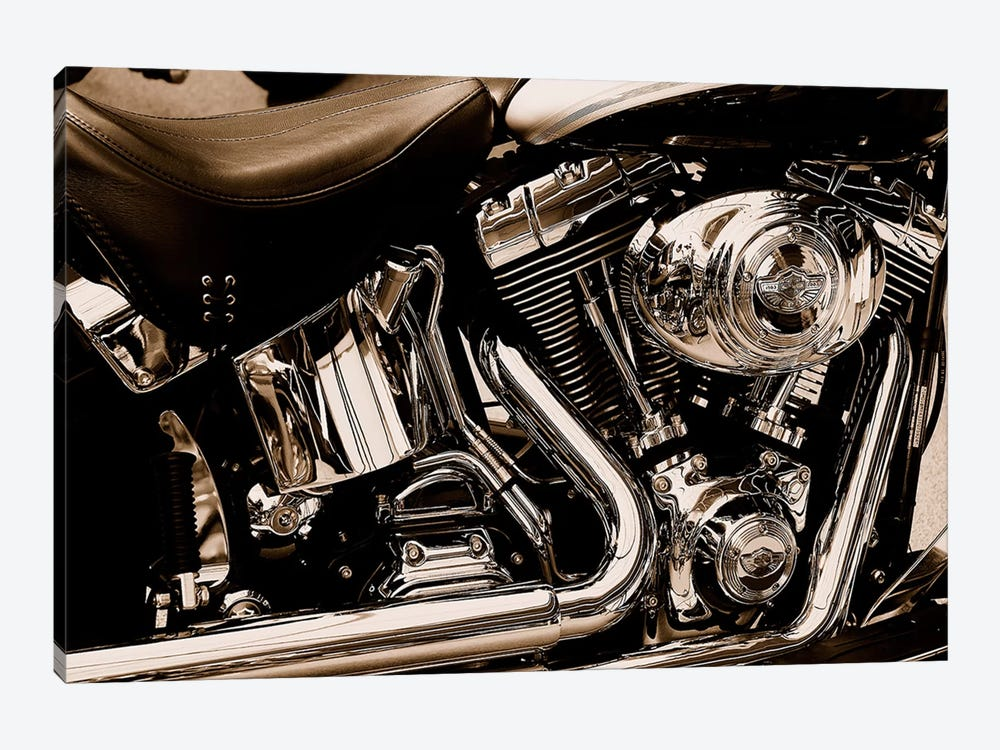 Harley Motorcycle by Unknown Artist 1-piece Canvas Artwork