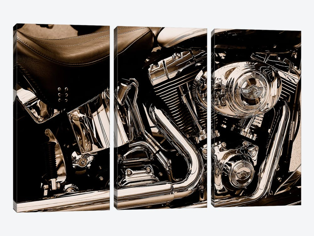 Harley Motorcycle by Unknown Artist 3-piece Canvas Wall Art