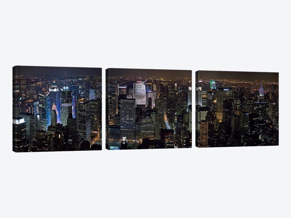 New York Panoramic Skyline Cityscape by Unknown Artist 3-piece Canvas Wall Art