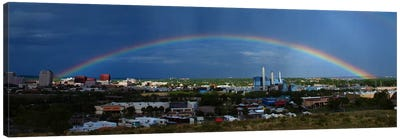 Colorado Springs Panoramic Skyline Cityscape (Rainbow) Canvas Print #6001