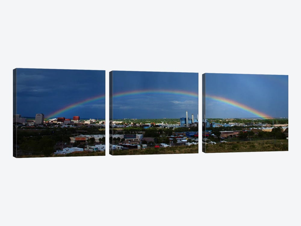 Colorado Springs Panoramic Skyline Cityscape (Rainbow) by Unknown Artist 3-piece Canvas Art Print