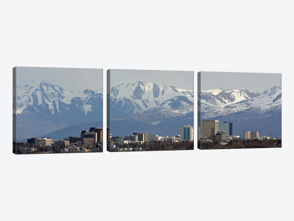 Anchorage Panoramic Skyline Cityscape by Unknown Artist 3-piece Canvas Wall Art