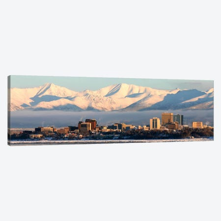 Anchorage Panoramic Skyline Cityscape (Dusk) Canvas Print #6003} by Unknown Artist Canvas Art Print