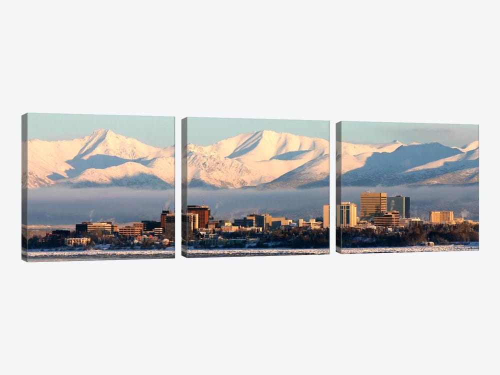 Anchorage Panoramic Skyline Cityscape (Dusk) 3-piece Canvas Print