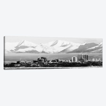 Anchorage Panoramic Skyline Cityscape (Black & White) Canvas Print #6004} Canvas Artwork