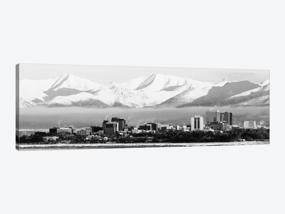 Anchorage Panoramic Skyline Cityscape (Black & White) 1-piece Canvas Wall Art