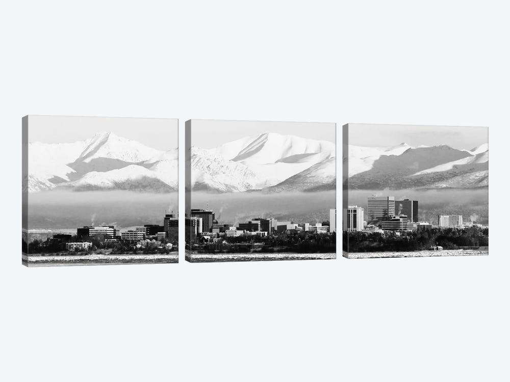 Anchorage Panoramic Skyline Cityscape (Black & White) 3-piece Canvas Art