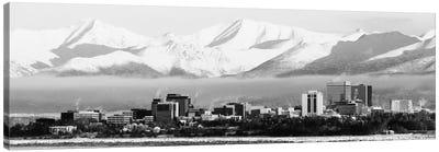 Anchorage Panoramic Skyline Cityscape (Black & White) Canvas Art Print