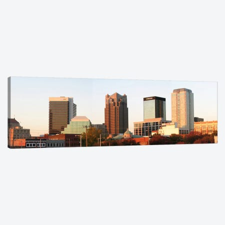 Birmingham Panoramic Skyline Cityscape (Evening) Canvas Print #6005} Canvas Wall Art