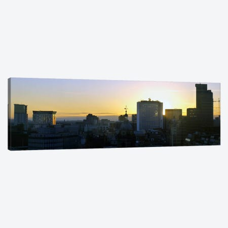 Birmingham Panoramic Skyline Cityscape (Sunset) Canvas Print #6006} by Unknown Artist Canvas Artwork