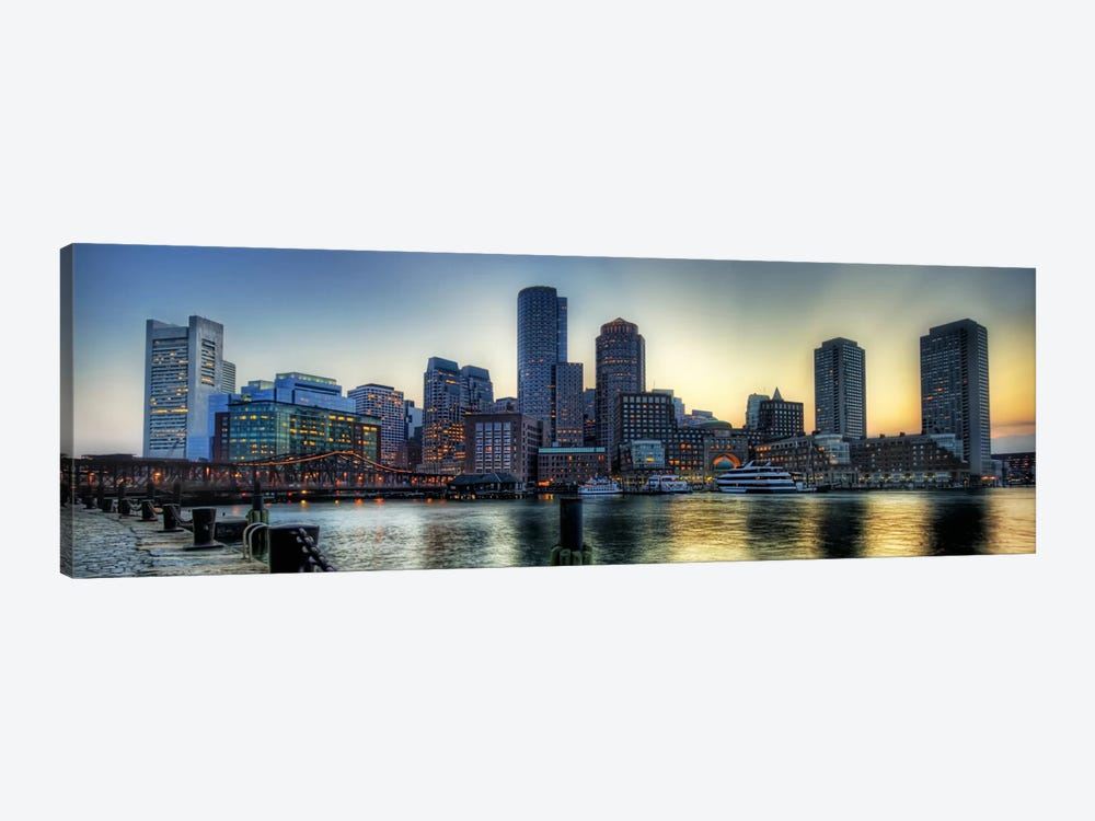 boston panoramic skyline cityscape canvas wal unknown artist