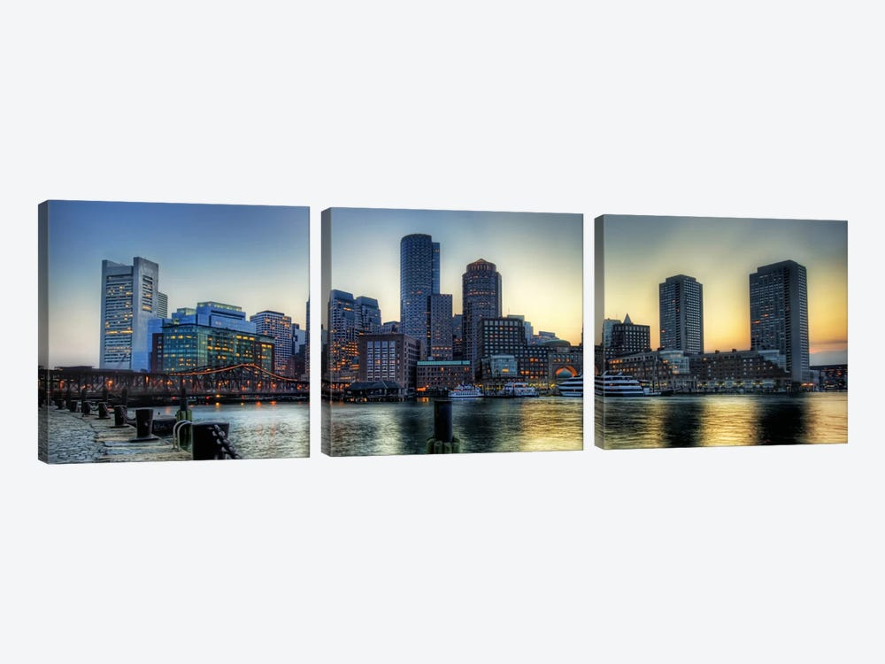 Boston Panoramic Skyline Cityscape by Unknown Artist 3-piece Art Print