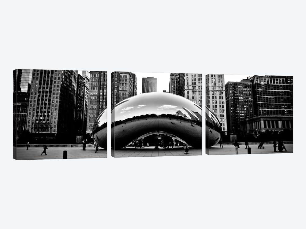Chicago Panoramic Skyline Cityscape (Bean) 3-piece Canvas Artwork