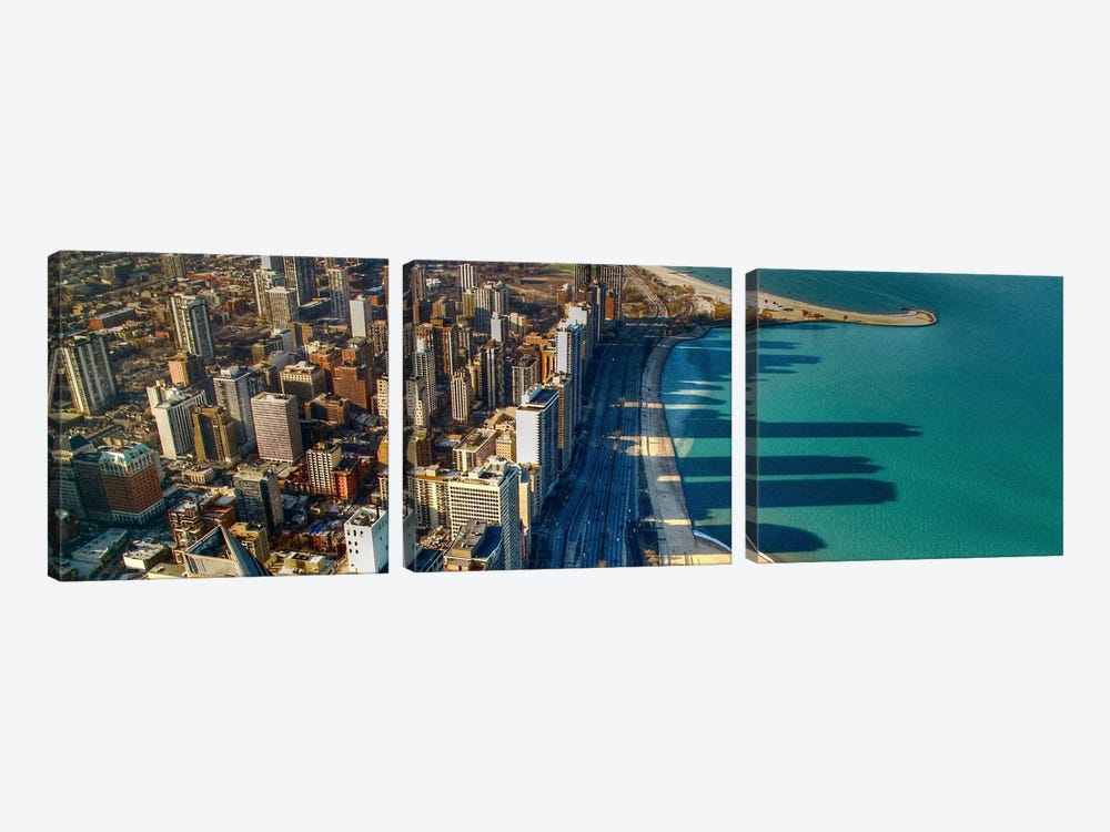 Chicago Panoramic Skyline Cityscape (John Hancock view) by Unknown Artist 3-piece Art Print