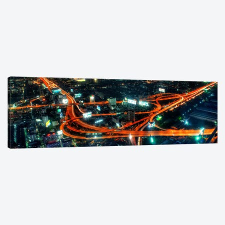 City Life at Night Panoramic Skyline Cityscape Canvas Print #6011} by Unknown Artist Canvas Wall Art