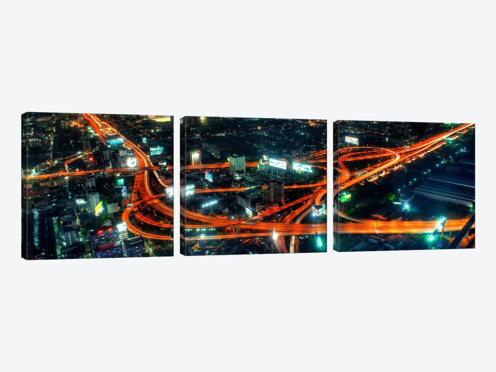 City Life at Night Panoramic Skyline Cityscape by Unknown Artist 3-piece Canvas Wall Art
