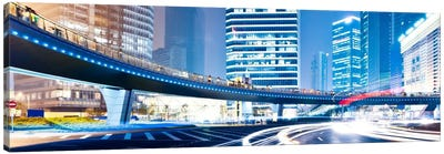 Streets at Night in The City Panoramic Skyline Cityscape Canvas Print #6012
