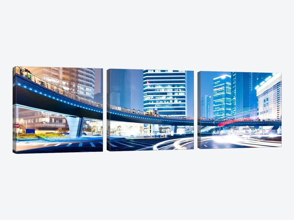 Streets at Night in The City Panoramic Skyline Cityscape 3-piece Canvas Print