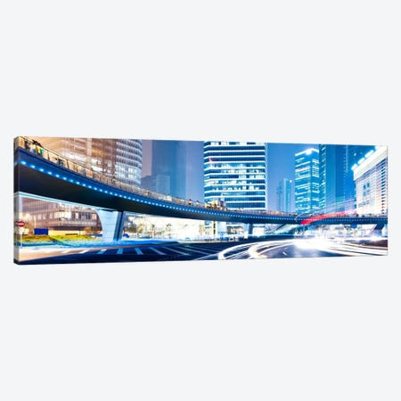 Streets at Night in The City Panoramic Skyline Cityscape 3-Piece Canvas #6012} by Unknown Artist Canvas Wall Art