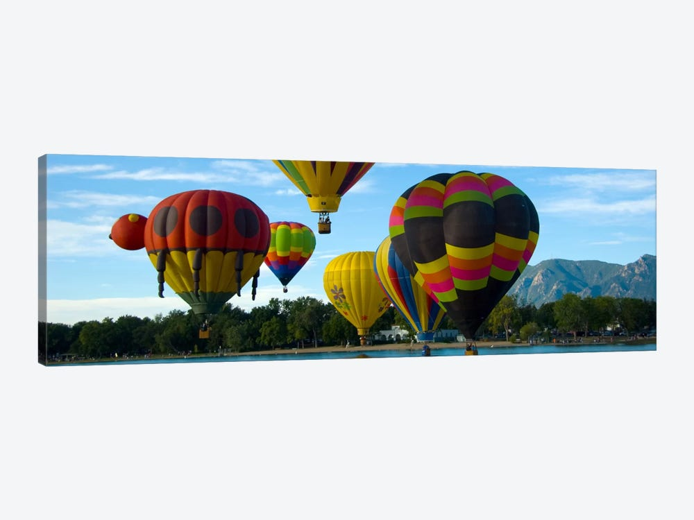 Colorado Springs Panoramic Skyline Cityscape (Air Baloon Competiton) by Unknown Artist 1-piece Canvas Art