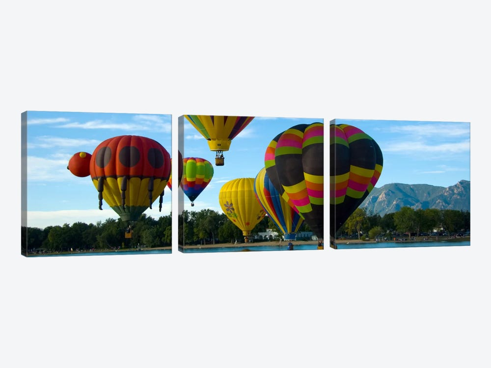 Colorado Springs Panoramic Skyline Cityscape (Air Baloon Competiton) by Unknown Artist 3-piece Canvas Wall Art