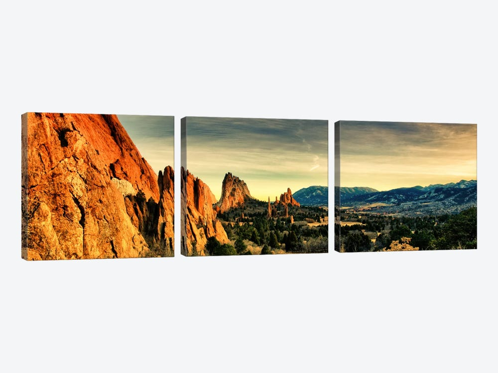 Colorado Springs Panoramic Skyline Cityscape 3-piece Canvas Art Print