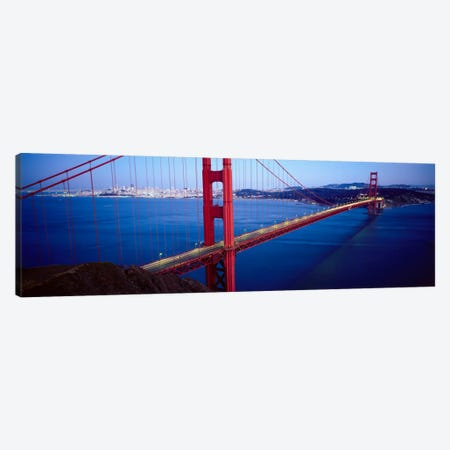 San Francisco Panoramic Skyline Cityscape (Golden Gate Bridge) Canvas Print #6019} by Unknown Artist Canvas Art