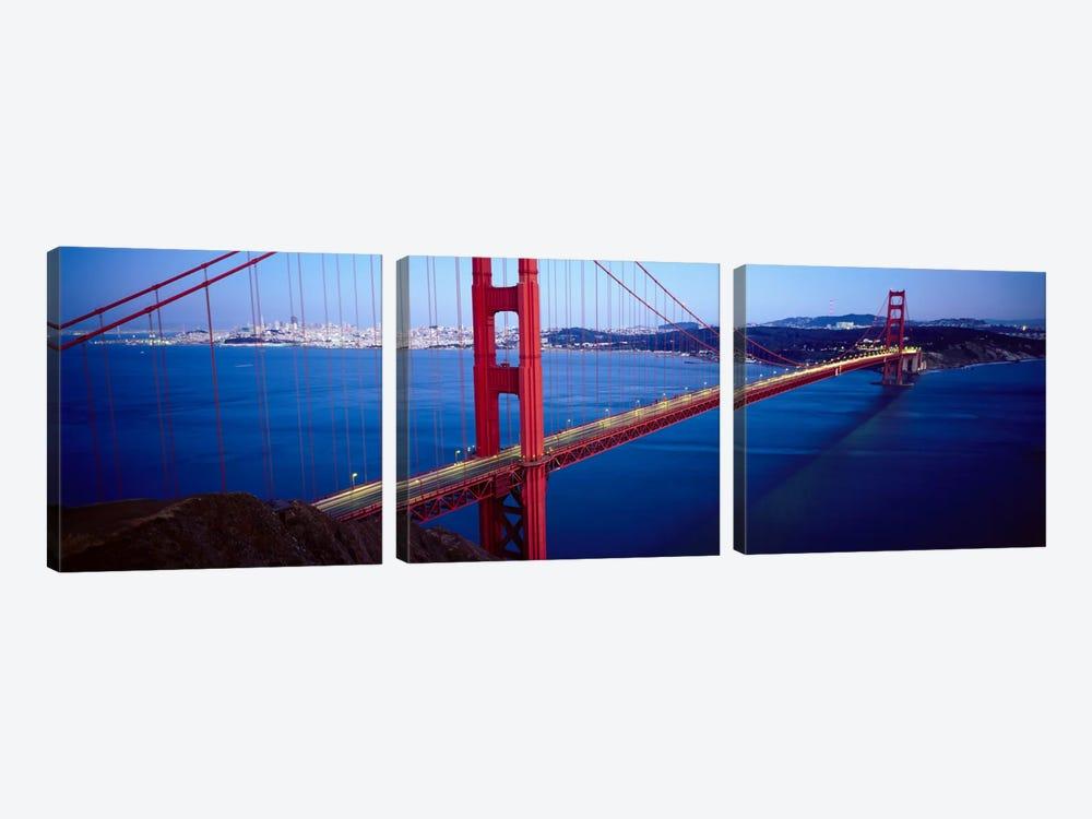 San Francisco Panoramic Skyline Cityscape (Golden Gate Bridge) by Unknown Artist 3-piece Canvas Art