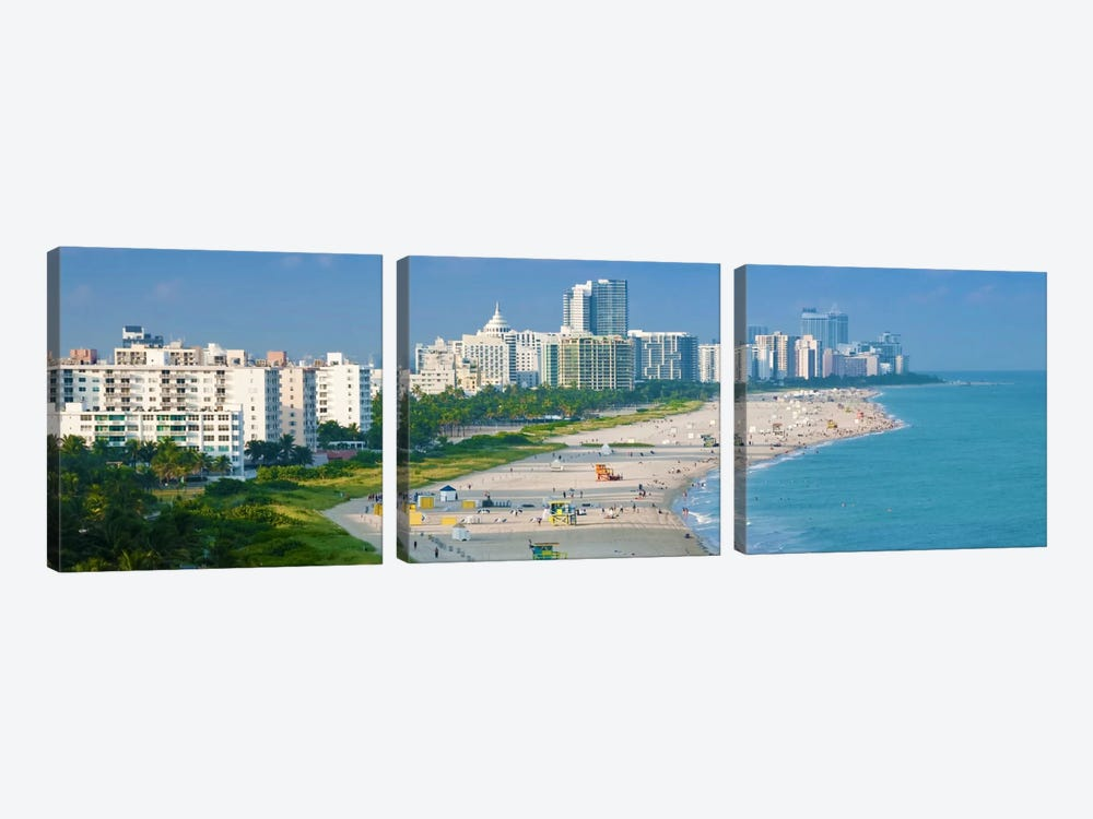 Miami Panoramic Skyline Cityscape by Unknown Artist 3-piece Canvas Artwork
