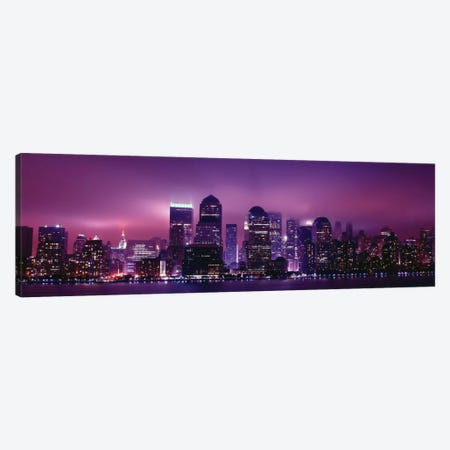 New York Panoramic Skyline Cityscape (Night View) Canvas Print #6021} Art Print