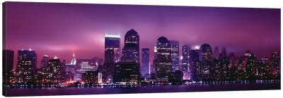 New York Panoramic Skyline Cityscape (Night View) Canvas Art Print