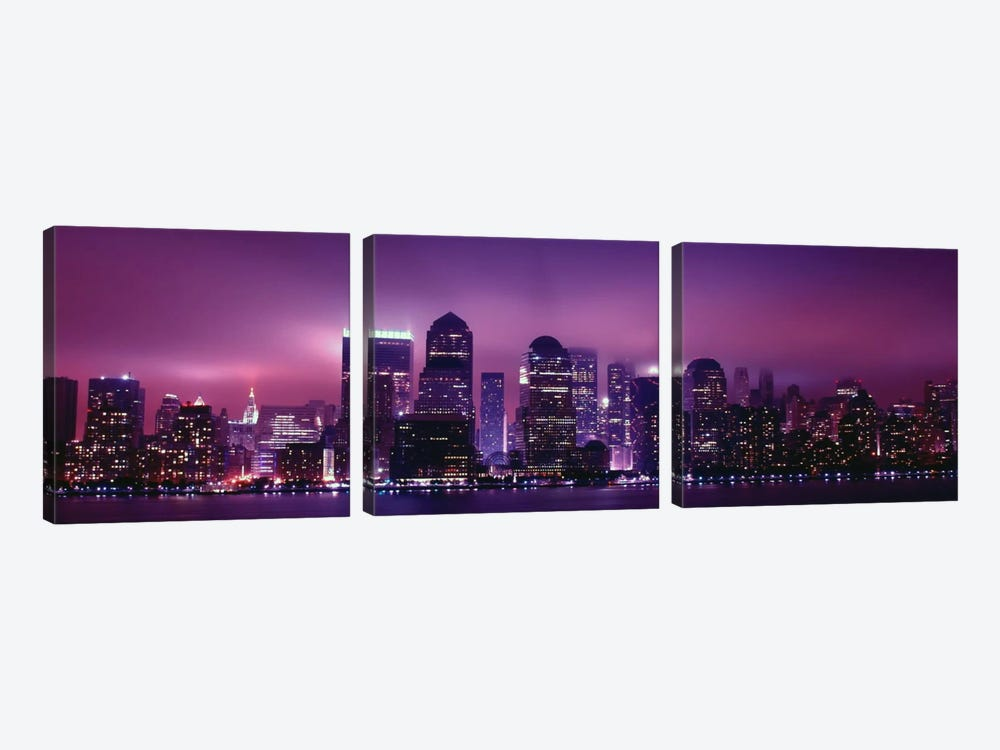 New York Panoramic Skyline Cityscape (Night View) by Unknown Artist 3-piece Canvas Art Print