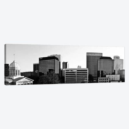 Norfolk Panoramic Skyline Cityscape (Black & White) Canvas Print #6023} Art Print