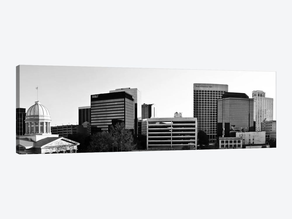 Norfolk Panoramic Skyline Cityscape (Black & White) 1-piece Canvas Print