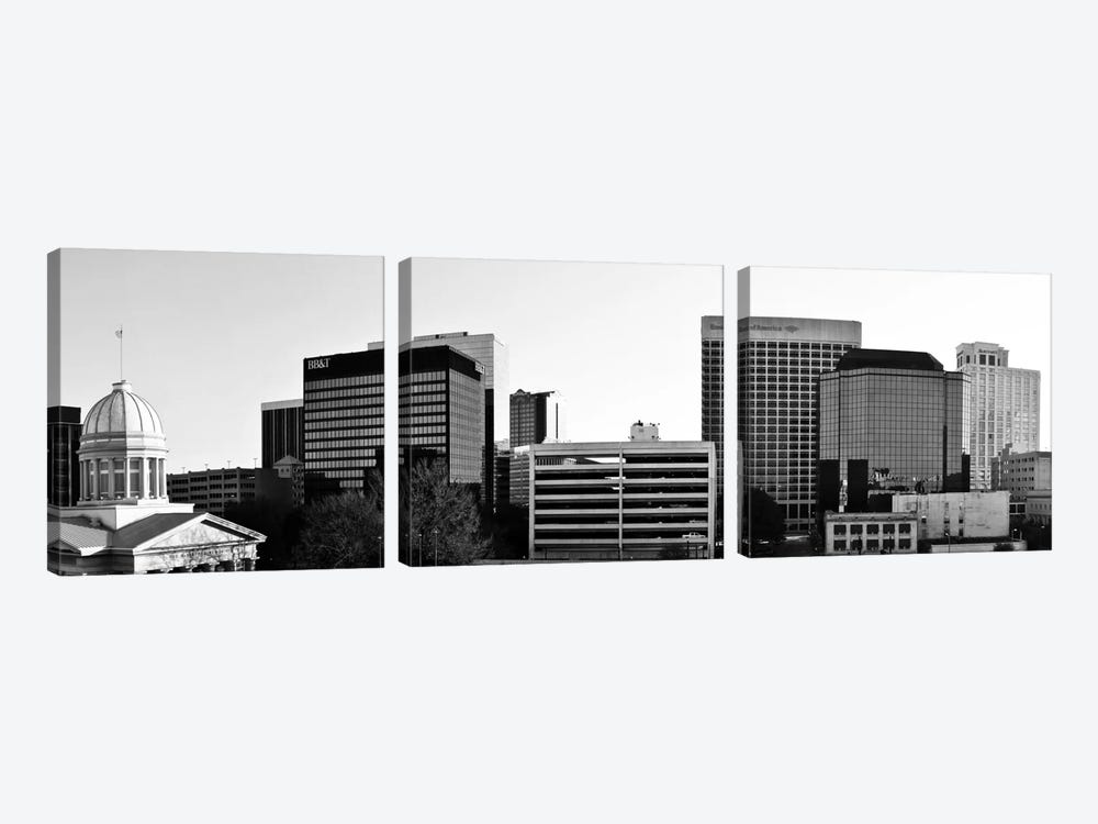 Norfolk Panoramic Skyline Cityscape (Black & White) by Unknown Artist 3-piece Art Print