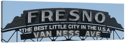 Fresno Panoramic Skyline Cityscape (Sign) Canvas Print #6027