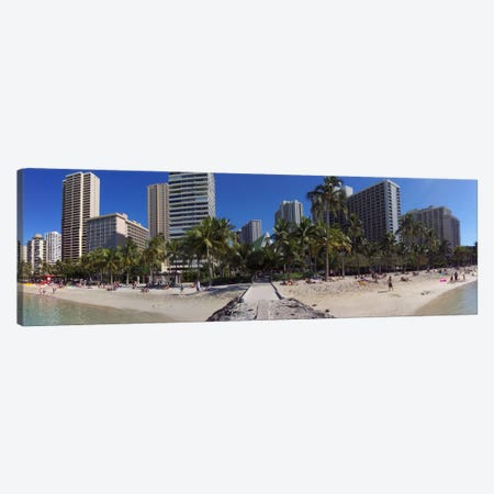 Honolulu Panoramic Skyline Cityscape (Beach) Canvas Print #6028} by Unknown Artist Art Print